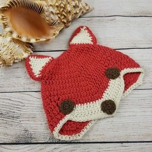 Crochet knit kids fox beanie cap